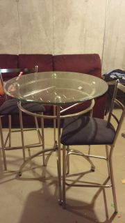 Glass pub Table w/ 2 chairs