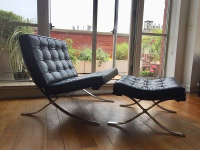 Black leather Barcelona chair and ottoman