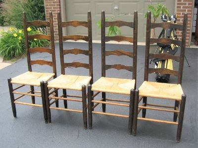 4 Cane Seat High Back Chairs