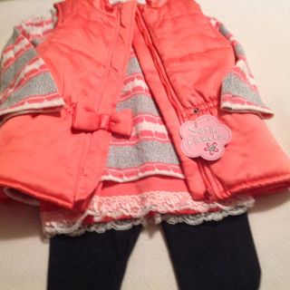 Little Girl New! Tangerine 3pc Adorable Outfit! Size 5/5t Great Gift! Would fit a Petite 6 Great Gift!