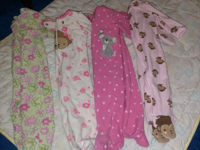 Size 3-6/6 Month Zip Up Sleepers