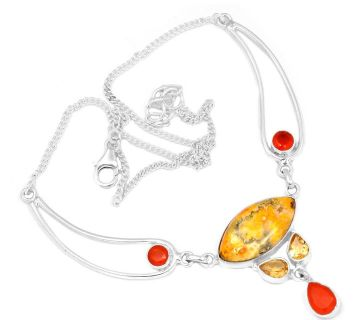 New - Bumble Bee Gemstone, Citrine and Carnelian Necklace