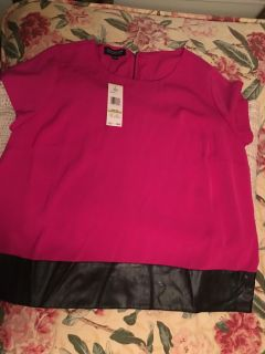Jones New York NWT this is a silk and leather top size 18 W also have the matching Knit skirt sold separately