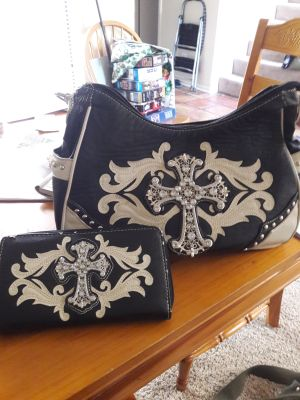 Matching cross purse and wallet