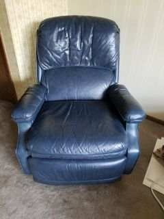Dark blue Leather recliner chair EUC