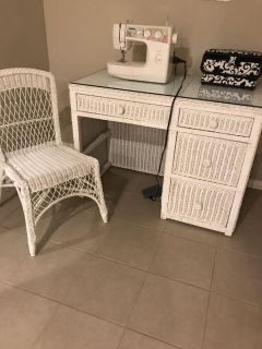 White wicker desk (vanity), chair and mirror