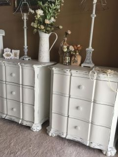 2 Stunning SHABBY CHIC Large Nightstands..Beautifully shaped.. 3 large drawers each.. custom finished in soft white / distressed / sealed
