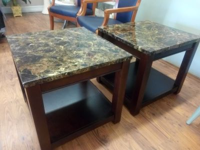 $29 ea. Faux Marble/Wood PAIR End Tables