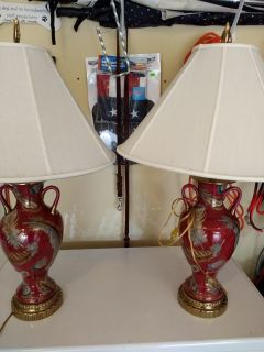 Pretty Pair of Lamps with Shades