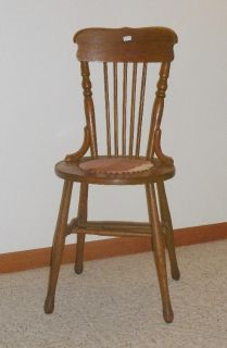 Slim Antique Wooden Chair with Padded Seat