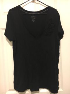 Old navy cute black shirt with organza flower on pocket. Pic above. Size Xl