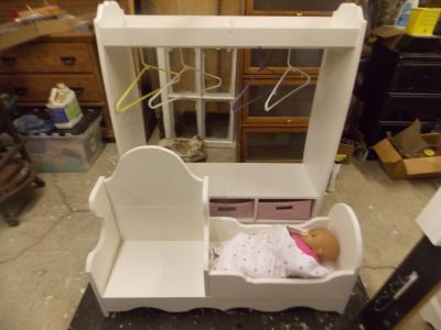 Antque White Doll Bed and Child's Chair and Child's Dress up Closet