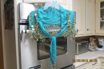 """Costume Accessory -- Womens Sheer Shoulder Cape """"Beaded"""" With Gold Coins"""