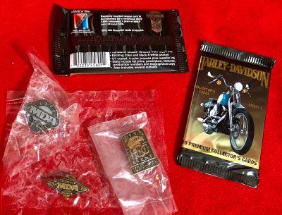 Harley Davidson Collectors Cards + Pins