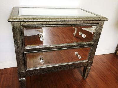 Mirrored Glass 2-Drawer