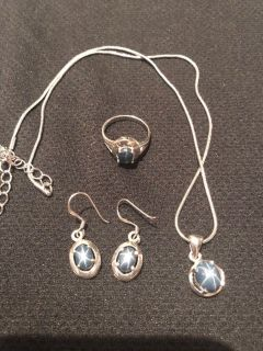 Silver star sapphire jewelry set, size 6 ring, 16 necklace