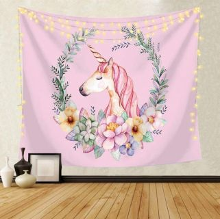 Pink Unicorn Backdrop Tapestry