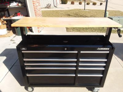 Husky Adjustable Height Mobile Workbench & Tool Chest - Has 10 Drawers w/ Liners