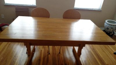 Solid Pacific Coast Maple Butcher Block Table 60x36 inches and 4 chairs
