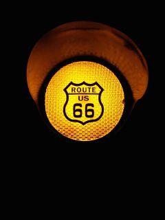 Route 66 Floor Lamp Flashing Metal Traffic Sign