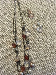 Double strand necklace and 2 pair earrings 10