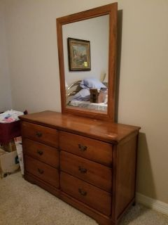 Vintage Wooden Chest of Drawers/Mirror