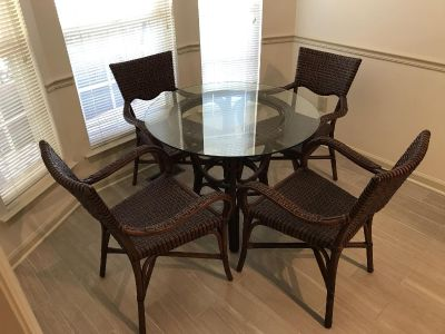 Glass Top wicker dining table