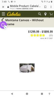 Hunting canvas wall tent only used twice all there