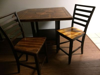 Tall wooden Dining Table set 4 chairs