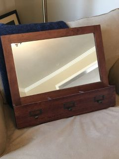 Pottery barn mirror with mail sorter and hooks