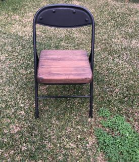 Metal and Wood Folding Chair