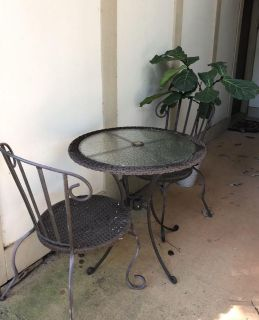Heavy durable iron and rattan patio set