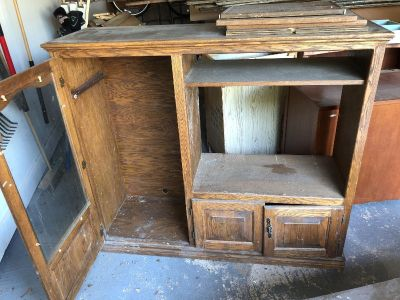solid wood old TV stand can be converted to great piece $60