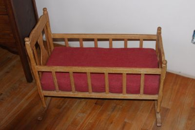 Vintage Wood Doll Cradle With Mattress