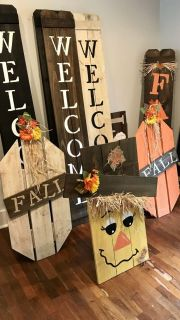 Pumpkins, scarecrow & Welcome signs $35 each
