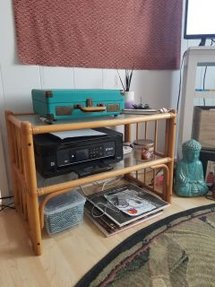 Bamboo Table with Glass shelving