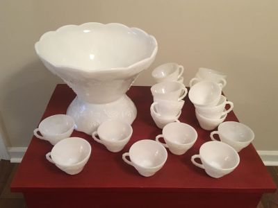 Vintage Milk Glass Punch Bowl with Cups!