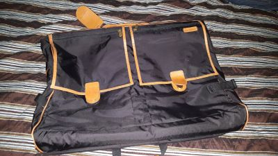 **JUST REDUCED **Hartmann black with leather trim deluxe garment bag