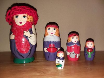 Handpainted Wood Nesting Doll (Lady with Red crochet hat)