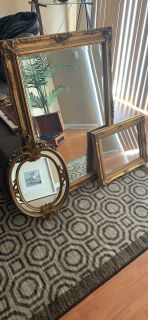 Set of Gold Baroque Style Mirrors - Sold Together or Individually