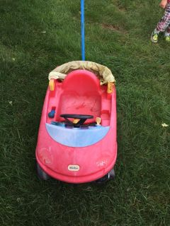 Little Tikes push car tires work great but umbrella torn. Sturdy car but well loved