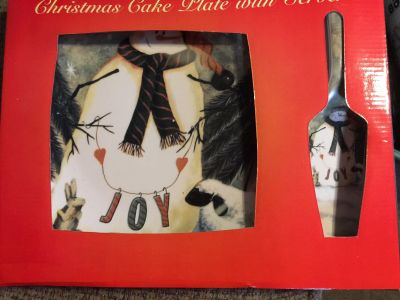 New in Box Snowman Cake Plate and Server