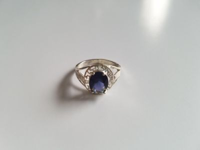 Blue Topaz Sterling Silver Ring - Size 8