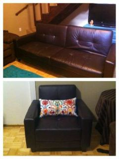Leather futon sofa abd chair