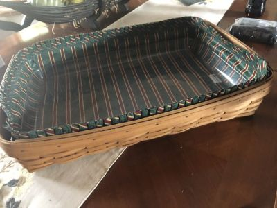 Longaberger Serving Tray Basket with Liner and Protector