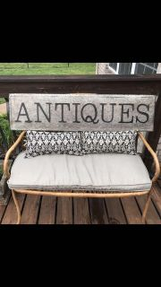 Antiques sign 12x48 *must pickup off shutes lane in Hendersonville*