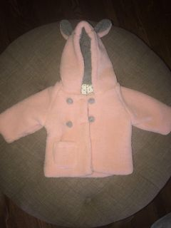 Pink and grey coat with bunny ears