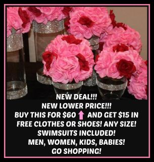 ROSE BOUQUET IN BLING VASES (Can change to solid pink roses) Buy this & get $15 in FREE clothes/shoes! *** SEE PIC BELOW