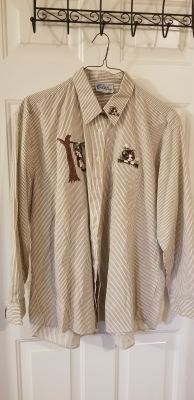 1X Brown and white striped kitty oxford shirt