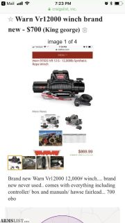 For Sale/Trade: Brand new warn vr12000 winch